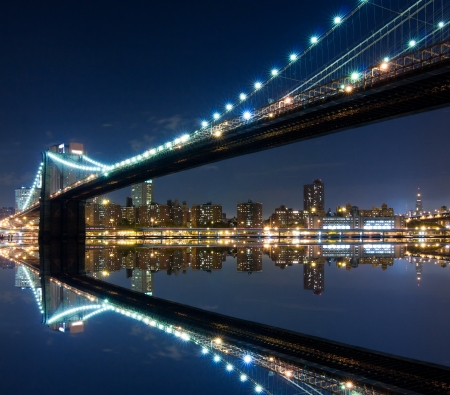 Brooklyn Bridge and Manhattan with reflections  Night scene