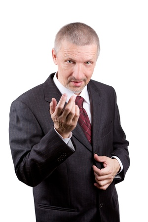 Mature man beckoning somebody with his hand  Isolated on white