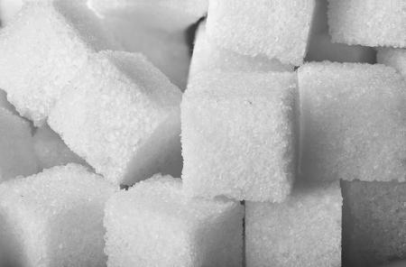 granulated: Texture of sugar cubes closeup Stock Photo