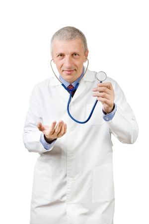 Mature doctor with stethoscope beckoning somebody photo