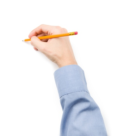 Man writing with pencil  Empty space for text Stock Photo