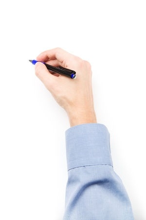 Man s hand with pen writing on blank paper photo