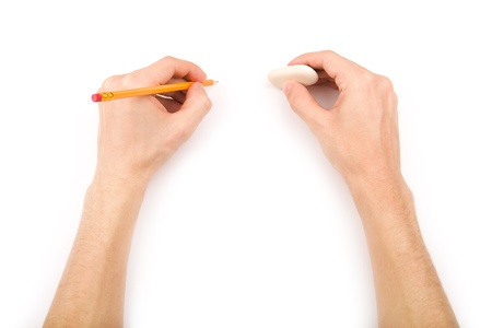 empty handed: Left-handed person with pencil and eraser Stock Photo