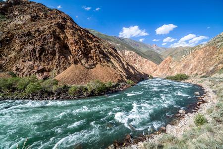 motton blue: Turquoise Kekemeren river in Tien Shan mountains, Kyrgyzstan