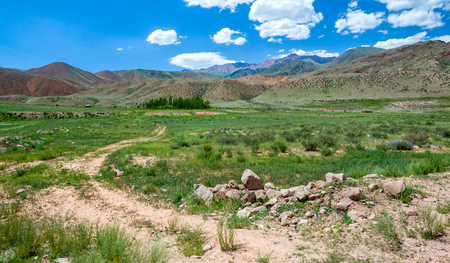 tien shan: Country road in colorful Tien Shan mountains, Kyrgyzstan