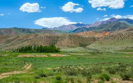 tien shan: Multi-colored mountains of Tien Shan, Kyrgyzstan Stock Photo