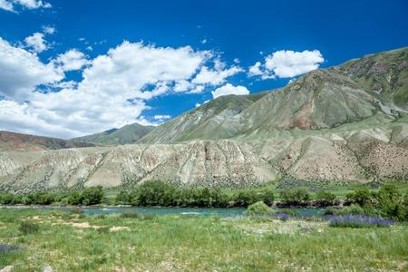 motton blue: Green water of Kekemeren river, Tien Shan, Kyrgyzstan