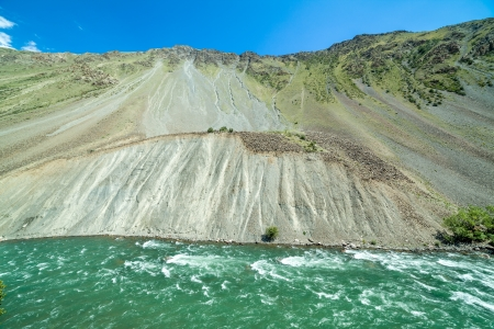 motton: Green water of Kekemeren river, Tien Shan, Kyrgyzstan