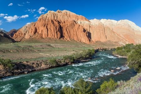 motton: Kekemeren river and colourful rock formations in Tien Shan mountains, Kyrgyzstan