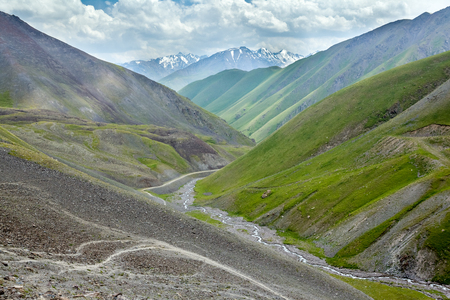 unsurfaced road: Valley of Kegety river in Tien Shan mountains, Kyrgyzstan