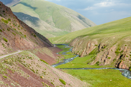 tien shan: Valley of East Karakol river, Tien Shan mountains, Kyrgyzstan Stock Photo
