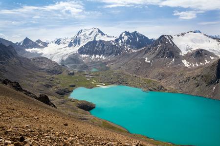motton blue: Mountain lake and mountain with glacier Stock Photo