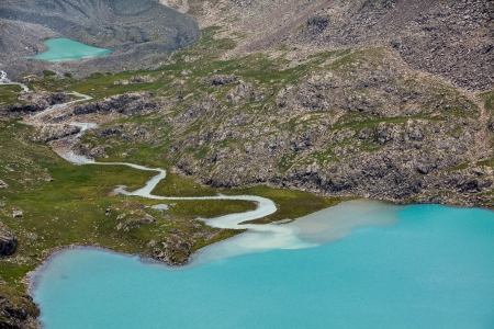 motton: Ala-Kul and small heart-shaped lakes , Tien Shan mountains, SKyrgyzstan