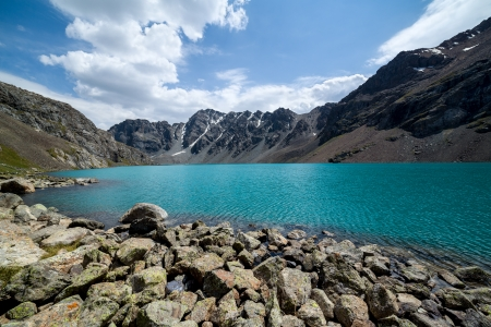 motton blue: Ala-Kul - majestic mountain lake of Tien Shan, Kyrgyzstan