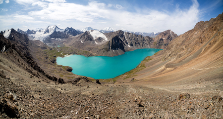 Panorama of lake and mountains of Kyrgyzstan