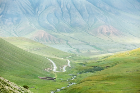 Mountain landscape with road, Tien Shan, Kyrgyzstan