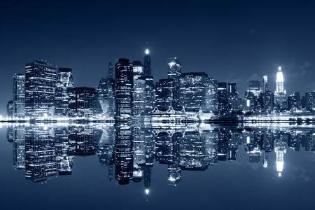 city panorama: Manhattan at night, New York City. View from Brooklyn Stock Photo