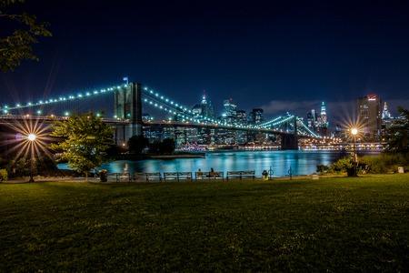 ny: Brooklyn Bridge and Manhattan, New York, night scene Stock Photo