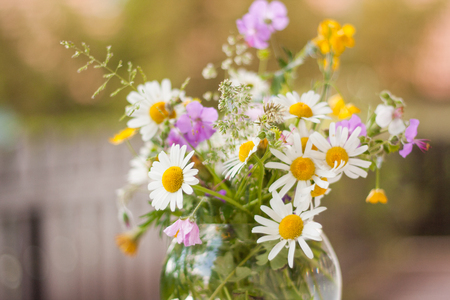 A colorful bouquet of freshly picked wild flowers from a natural meadow and garden. Presented on a table outdoors in a round glass vase. Fence in the background. Standard-Bild
