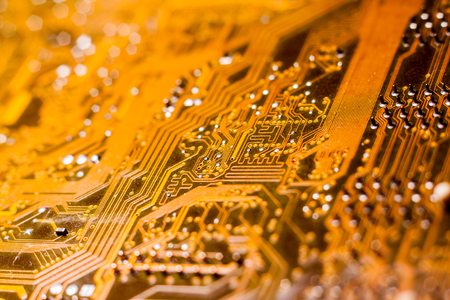A printed circuit board (PCB) connects electronic or electrical components using conductive tracks, from copper. Transistors, diodes, IC chips, resistors, connectors and capacitors are soldered on. Standard-Bild