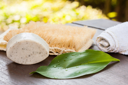 Natural grey clay, handmade soap bar for washing face and body. Green leaf with raindrops, a rolled up hand towel and a sisal shower brush for decoration of a zero waste bathroom or spa center. Standard-Bild