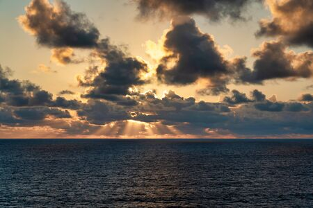sunrise view from a ship at sea Banco de Imagens