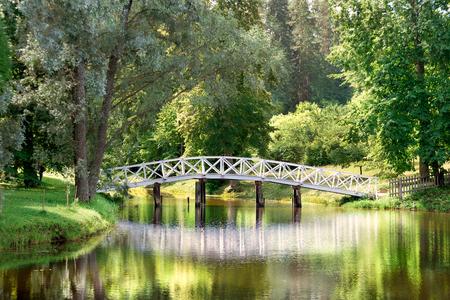 Die weiße Brücke Reflexion n Park am Sommer Standard-Bild - 46467128