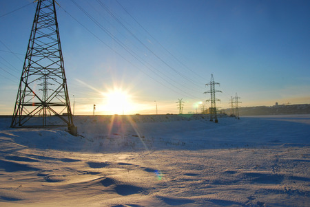 volga river: Electricity Tower at the Frozen Volga River