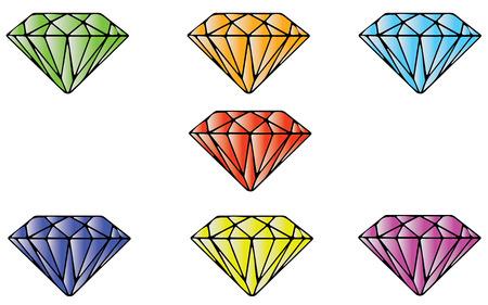 emerald gemstone: Seven Color Emeralds. Jewel Design. Cartoon Illustration.