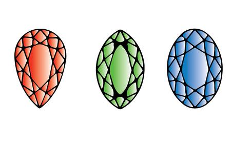 faceting: Color Faceting Gems. Jewel Design. Cartoon Illustration. Illustration
