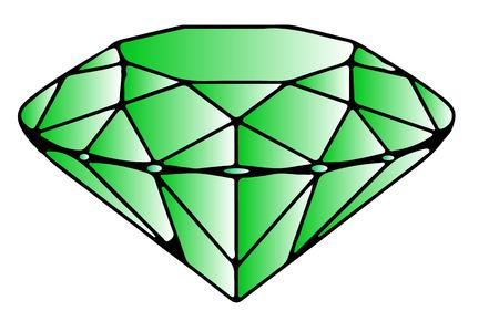 emerald: Big Green Emerald. Jewel Design. Cartoon Illustration. Illustration