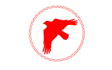 corvus: Sign of the Red Raven in Circle. Illustration