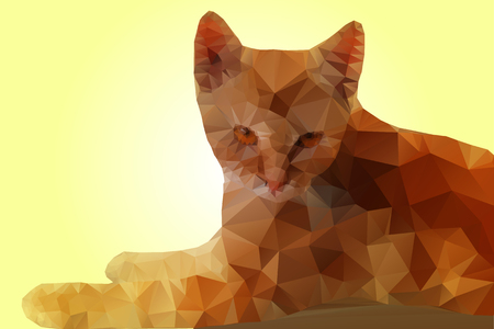 triangular eyes: Polygonal vector image of Red Cat with Brown Eyes