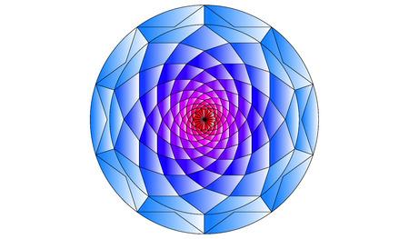 golden ratio: Golden Ratio. Flower Spiral. Blue Circle Design Illustration