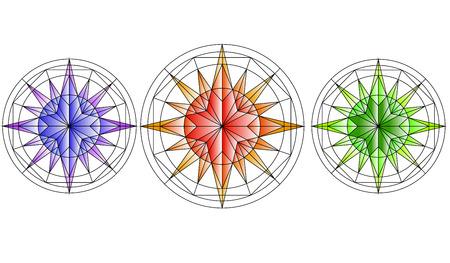 star map: Roses of Wind. Compass. Set  Three Stars
