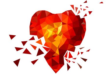 saint valentin coeur: Triangle coeur bris�. Rouge. Jaune. Orange. Aimer