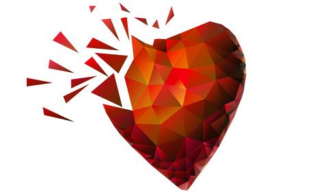 Triangle Broken Heart. Red. Yellow. Orange. Love