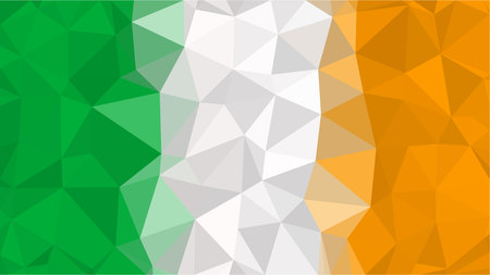 Polygonal Triangle Flag of Ireland. Irish national flags in low poly design for your business.