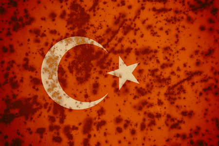 Flag of Turkey on a old metal background. Turkish Flags rust texture