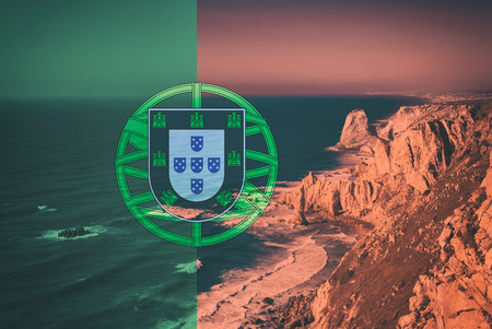 Double Exposure of Cabo da Roca - Most Western Part of Europe in Portugal on National Potuguese Flag Imagens