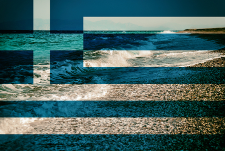 Flag of Greece on the Waves of  Mediterranean Sea on the Beach Background.