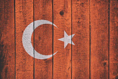 Turkey National Flag on a wooden bavkground. Turkish Flags wood texture. Imagens