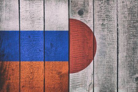 Russian and Japanese National Flags on a Wooden Background. Russia and Japan Flag Wood Texture 스톡 콘텐츠