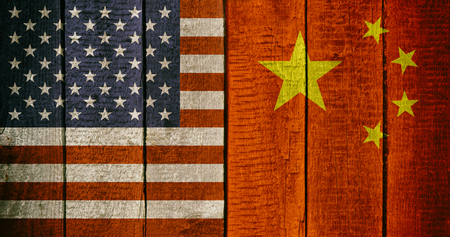 Chinese and USA National Flags on a Wooden Background. China and United States of America Flag Wood Texture.