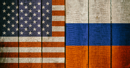 Russian and USA National Flags on a Wooden Background. Russia and United States of America Flag Wood Texture
