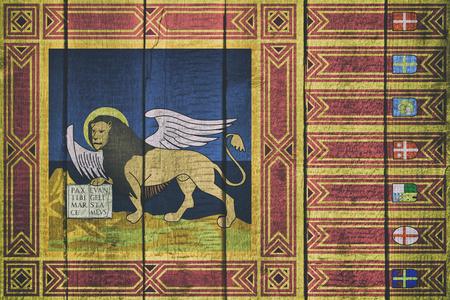 Flag of Veneto ona a Wooden Background Imagens