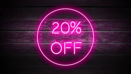 20 PERCENT OFF in neon style on wooden background for your design template. Imagens
