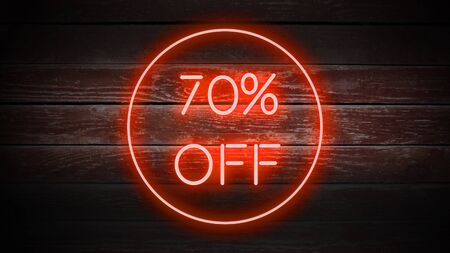 70 PERCENT OFF in neon style on wooden background for your design template.