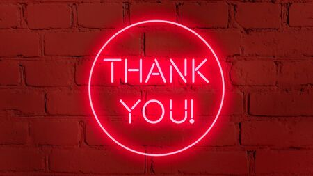 THANK YOU in neon style on brick background for your design template. Imagens