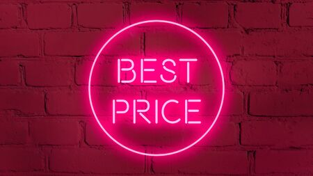 BEST PRICE in neon style on brick background for your design template.